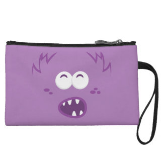 Purple Monster Face Clutch Bag