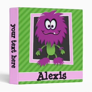 Purple Monster on Green Stripes 3 Ring Binder