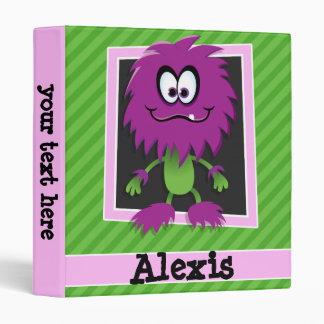 Purple Monster on Green Stripes Binders