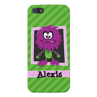 Purple Monster on Green Stripes Case For iPhone 5