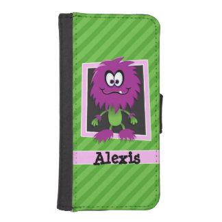 Purple Monster on Green Stripes Phone Wallet