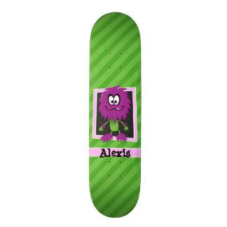 Purple Monster on Green Stripes Custom Skateboard