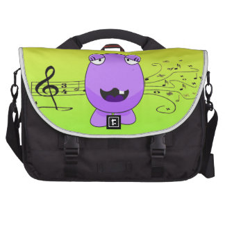 Purple Monster Singing Off Key Bags For Laptop
