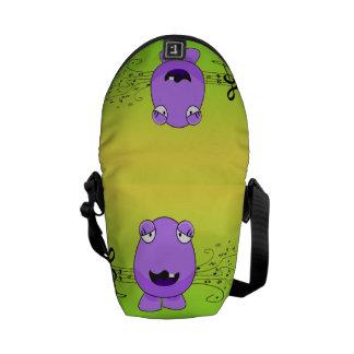 Purple Monster Singing Off Key Messenger Bag