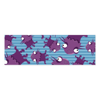 Purple Monster Stripes Print Double-Sided Mini Business Cards (Pack Of 20)