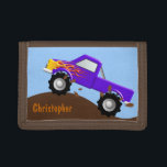 """Purple Monster Truck Personalized Wallet<br><div class=""""desc"""">A fun way to spend money! This monster truck wallet is a great gift for any child at heart.  Original vector art by Night Owl&#39;s Menagerie,  c. 2016.</div>"""