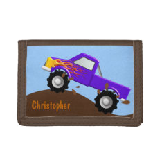 Purple Monster Truck Personalized Wallet at Zazzle