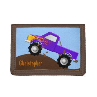 Purple Monster Truck Personalized Wallet