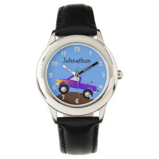 Purple Monster Truck Personalized Wristwatch