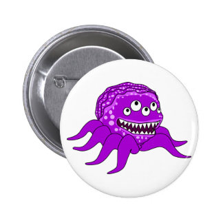 Purple Monster with Four Eyes and Tentacles Pinback Buttons