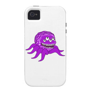 Purple Monster with Four Eyes and Tentacles Vibe iPhone 4 Case
