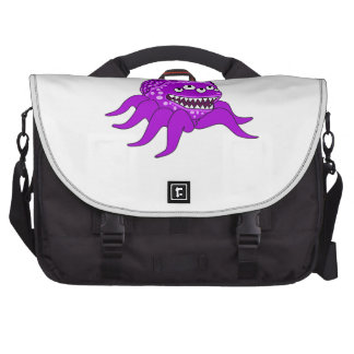 Purple Monster with Four Eyes and Tentacles Bag For Laptop