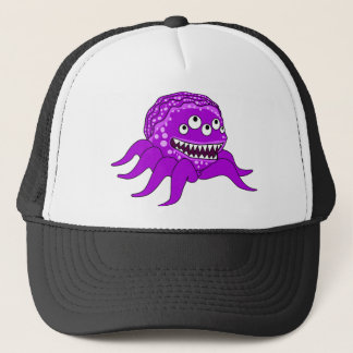 Purple Monster with Four Eyes and Tentacles Trucker Hat