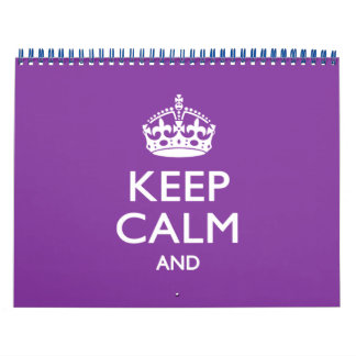Purple Monthly KEEP CALM AND Your Text Calendar