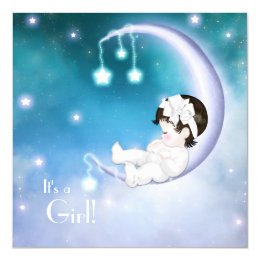 Purple Moon Baby Girl Shower Card