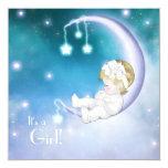 Purple Moon Baby Girl Shower Custom Invites