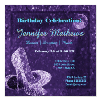 Purple Moon Dancing Shoes Birthday Celebration Card
