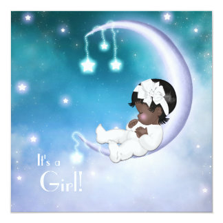 Purple Moon Ethnic Baby Girl Shower Custom Invite