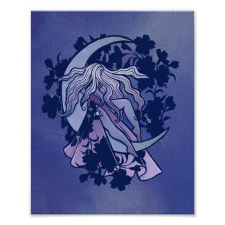 Purple Moon Goddess Wiccan Triple Moon Symbol Art Poster