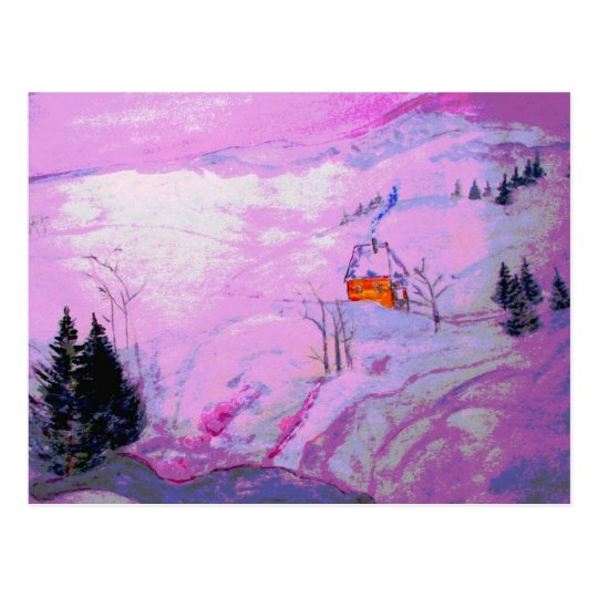 purple moon snow postcard