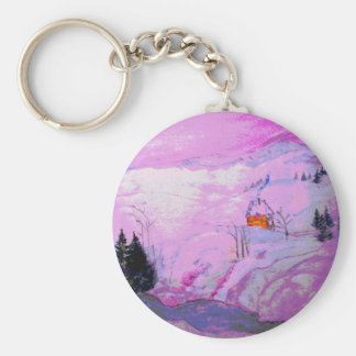 purple moonlight snow basic round button keychain