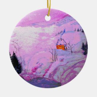 purple moonlight snow christmas ornament