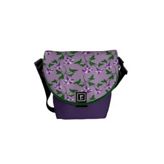 Purple Morning Glories Floral Pattern Courier Bag