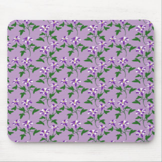 Purple Morning Glories Floral Pattern Mouse Pad