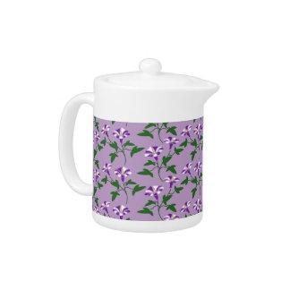 Purple Morning Glories Floral Pattern Tea Pot
