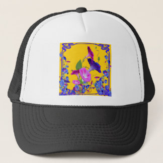 Purple Morning Glories Gold Art Trucker Hat