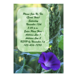Purple Morning Glory Floral Invitation