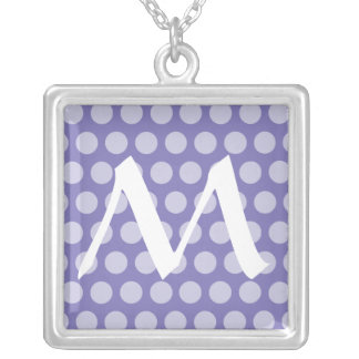 Purple Moroccan Dots with monogram Silver Plated Necklace
