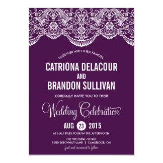 Purple Moroccan Lace Pattern Wedding Invitation