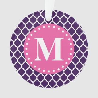 Purple Moroccan Lattice Pink Monogram Ornament