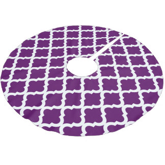 Purple Moroccan Quatrefoil Print Brushed Polyester Tree Skirt