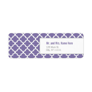 Purple Moroccan Tiles Return Address Label
