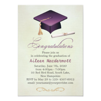 Purple mortar and diploma Graduation Party Card