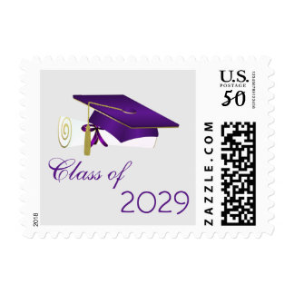 Purple mortar cap, diploma Class of any year Postage