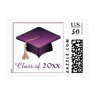 Purple Mortar hat graduation any year Postage