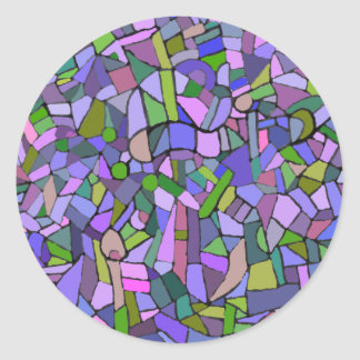 Purple Mosaic Abstract Classic Round Sticker
