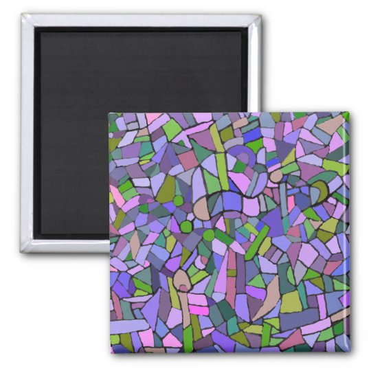 Purple Mosaic Abstract Magnet