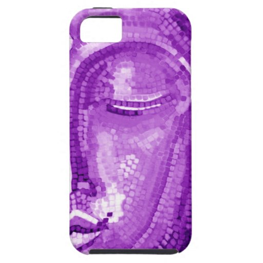 Purple Mosaic Buddha Face iPhone 5 Cases
