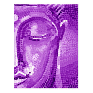 Purple Mosaic Buddha Face Postcard