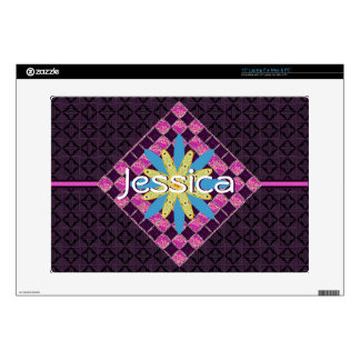 "Purple Mosaic Tile Floral Name Skin For 15"" Laptop"