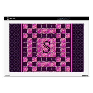 Purple Mosaic Tile Look Monogram Laptop Decals