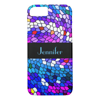 Purple Mosaic Tile Personalized iPhone 8/7 Case