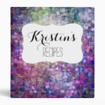 Purple mosaic watercolor abstract painted binder