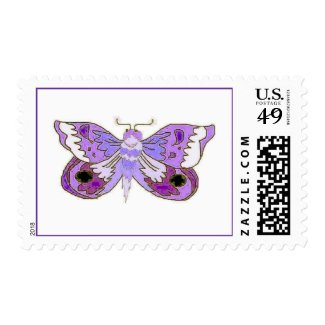 Purple Moth white2 Postage