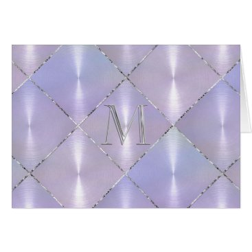 Beach Themed Purple Mother of Pearl with Silver Initial Card