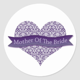 Purple Mother of the Bride Classic Round Sticker